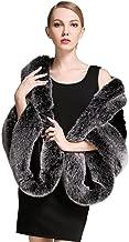 BEAUTELICATE Women's Party Faux Fox Fur Long Shawl Cloak Cape Coat-S64(More Colors)