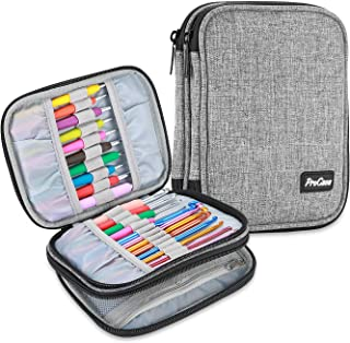 ProCase Crochet Hook Case (up to 6.5 Inches), Travel Organizer Zipper Bag for Various Crochet Hooks, Circular Knitting Needles and Other Accessories, Black (NO Accessories Included)