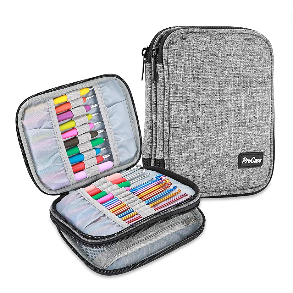 ProCase Crochet Hook Case, Travel Organizer Zipper Bag with Web Pockets for Various Crochet Hooks, Interchangeable Circular Knitting Needles and Knitting Accessories, Grey (NO Accessories Included)