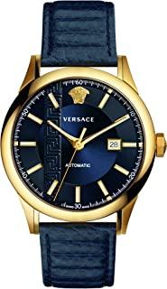 Versace Men's AIAKOS Automatic Swiss Watch with Leather Calfskin Strap, Blue, 12 (Model: V18020017)