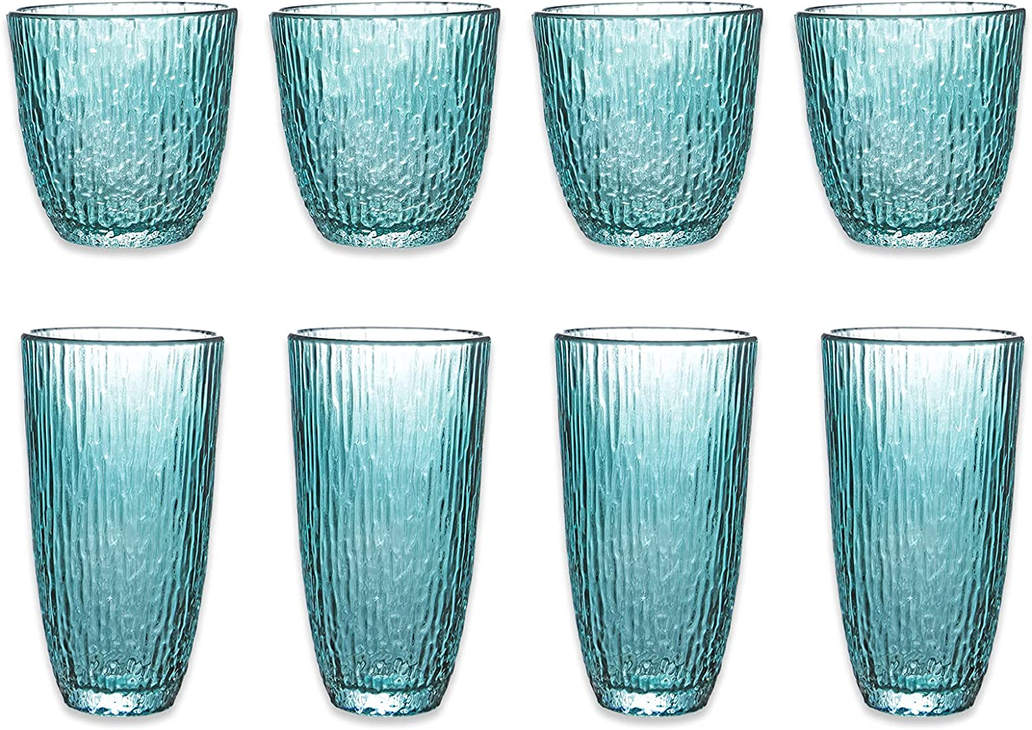 Amzcku Drinking Glasses Set of 8 | 4 Highball (12 oz.) And 4 Rocks Glass(10 oz.) | Glassware Kitchen family Lensed for Water, Beer,Wine,Milk,Juice and Cocktails.