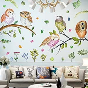 RW-1043 Cute Owls Animals Wall Decals Family Owls On The Tree Branches Wall Stickers DIY Removable Flowers Butterfly Plants Animals Tree Wall Decor for Kids Baby Bedroom Living Room Nursery Playroom