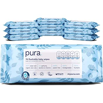 Pura Flushable Baby Wipes (10 Packs Of 70 Wipes, 700 Wipes), 100% Plastic Free, Biodegradable, 99% Water Organic Aloe Vera, Vegan, Suitable For Sensitive & Eczema Prone Skin, Midwife Approved