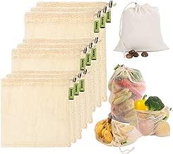 Laxus Bolsas de vegetales reutilizables de algodón, Ecológicas bolsas de frutas y vegetales, malla transpirables, Lavable y Libre de BPA, etiqueta de cordón de seguridad, 9 piezas 3x S, 3x M, 3x L