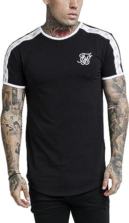 Sik Silk de los Hombres Camiseta de Gimnasio Curved hem, Negro