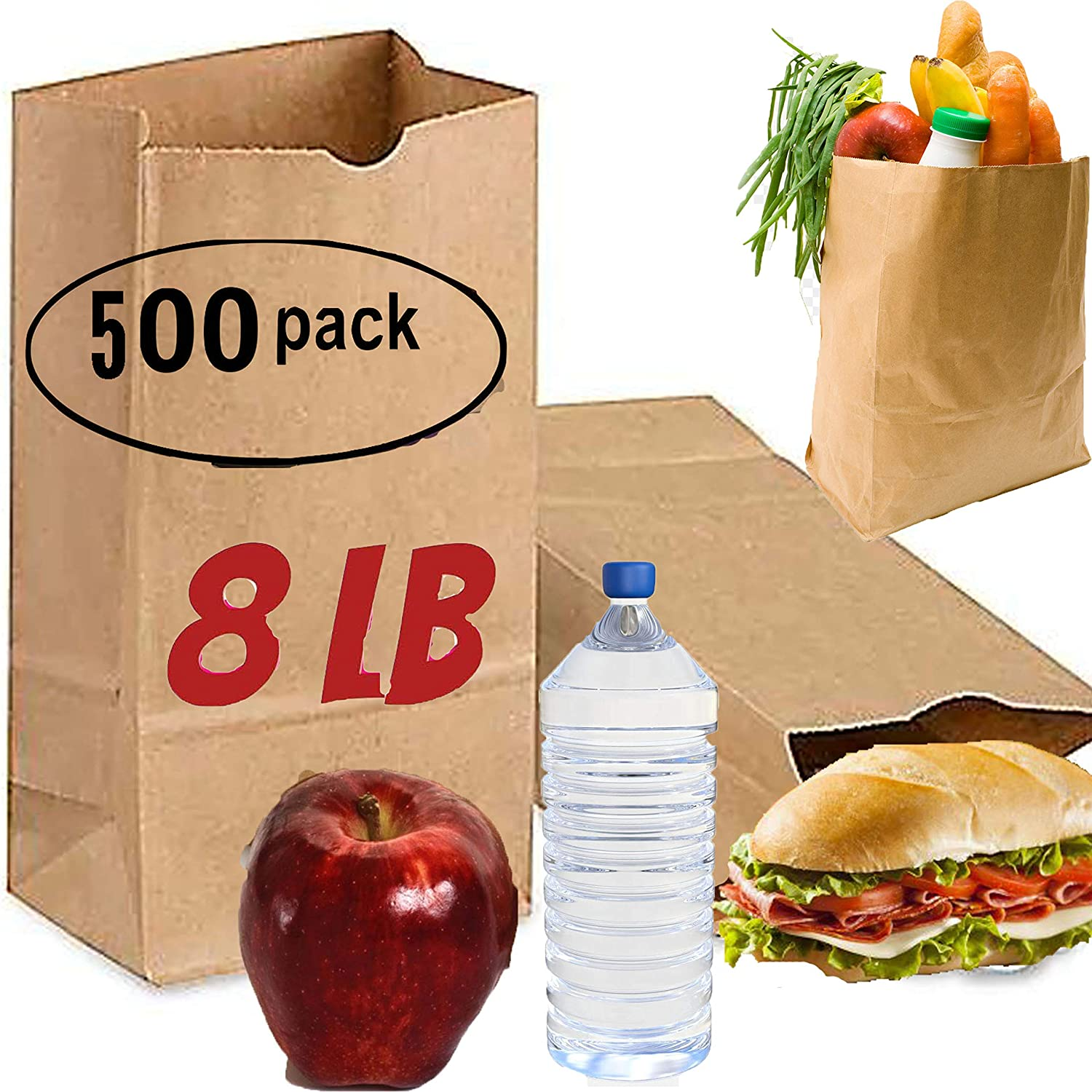 brown paper lunch bags large 500 count 8 lb brown paper sacks lunch sandwich brown paper bags 8 Pound Lunch Bags, Party Bags Pack of 500 brown lunch bags bulk