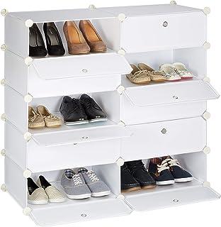 Relaxdays Meuble chaussures cubes rangement 10 casiers plastique chaussures modulable DIY HxlxP: 90x94x37 cm, blanc