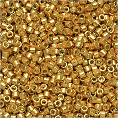 5g Transparent Yellow Outside DB-2372 Fancy Lined Sunflower Miyuki 110 Delica Beads : Dark Gold Inside