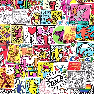 Keith Haring Themed Decal Stickers Car Motorcycle Bicycle Skateboard Laptop Luggage Vinyl Sticker Graffiti Laptop Luggage Decals Bumper Stickers (Keith Haring Themed)