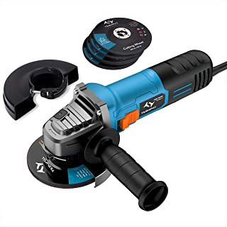 Angle Grinder 860W Tilswall 125mm Side Disc Grinder 12000RPM Tool with 3 Cut Off and 2 Grinding Polishing Abrasive Wheels...