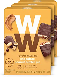 WW Chocolate Peanut Butter Pie Mini Bar - Snack Bar, 2 SmartPoints - 3 Boxes (36 Count Total) - Weight Watchers Reimagined