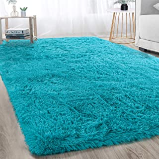 Merit Home Soft Fluffy Area Rugs Living Room Carpets for Nursery Decor Kids Room 4x6 Feet, Teal