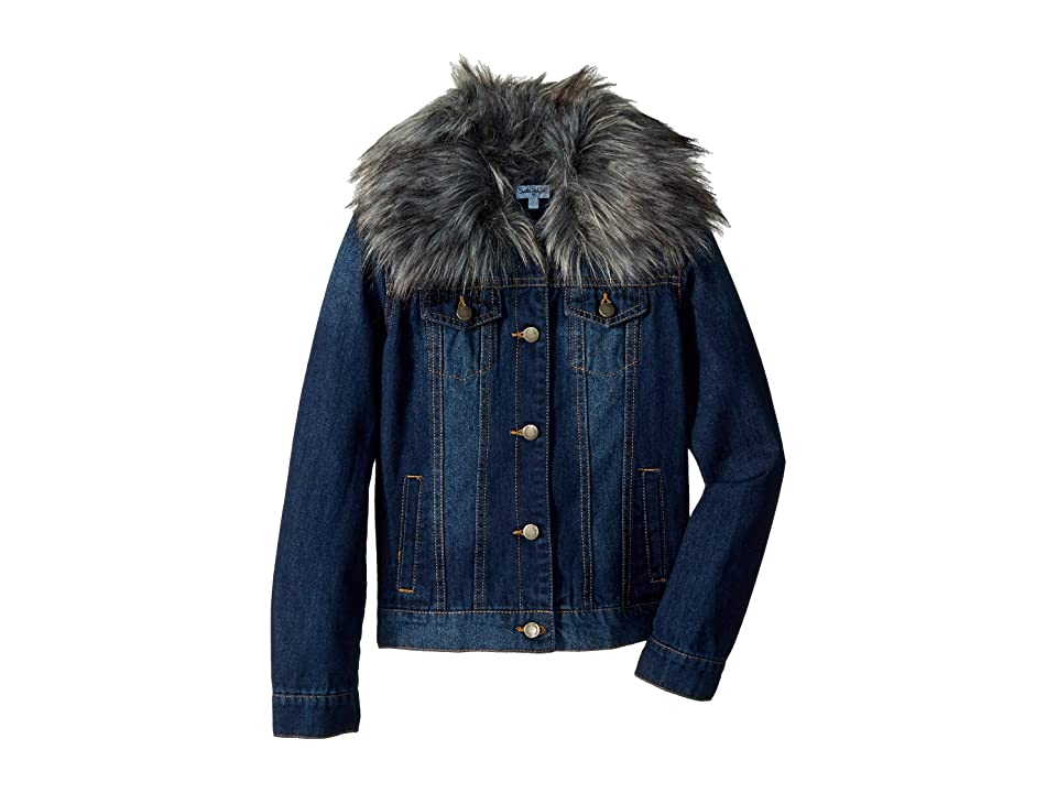 Splendid Littles Denim Jacket with Faux Fur Collar (Big Kids) (Medium Stone) Girl