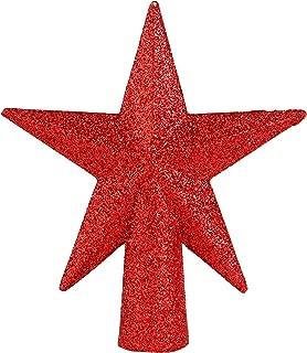 Ornativity Glitter Star Tree Topper - Christmas Mini Red Decorative Holiday Bethlehem Star Ornament