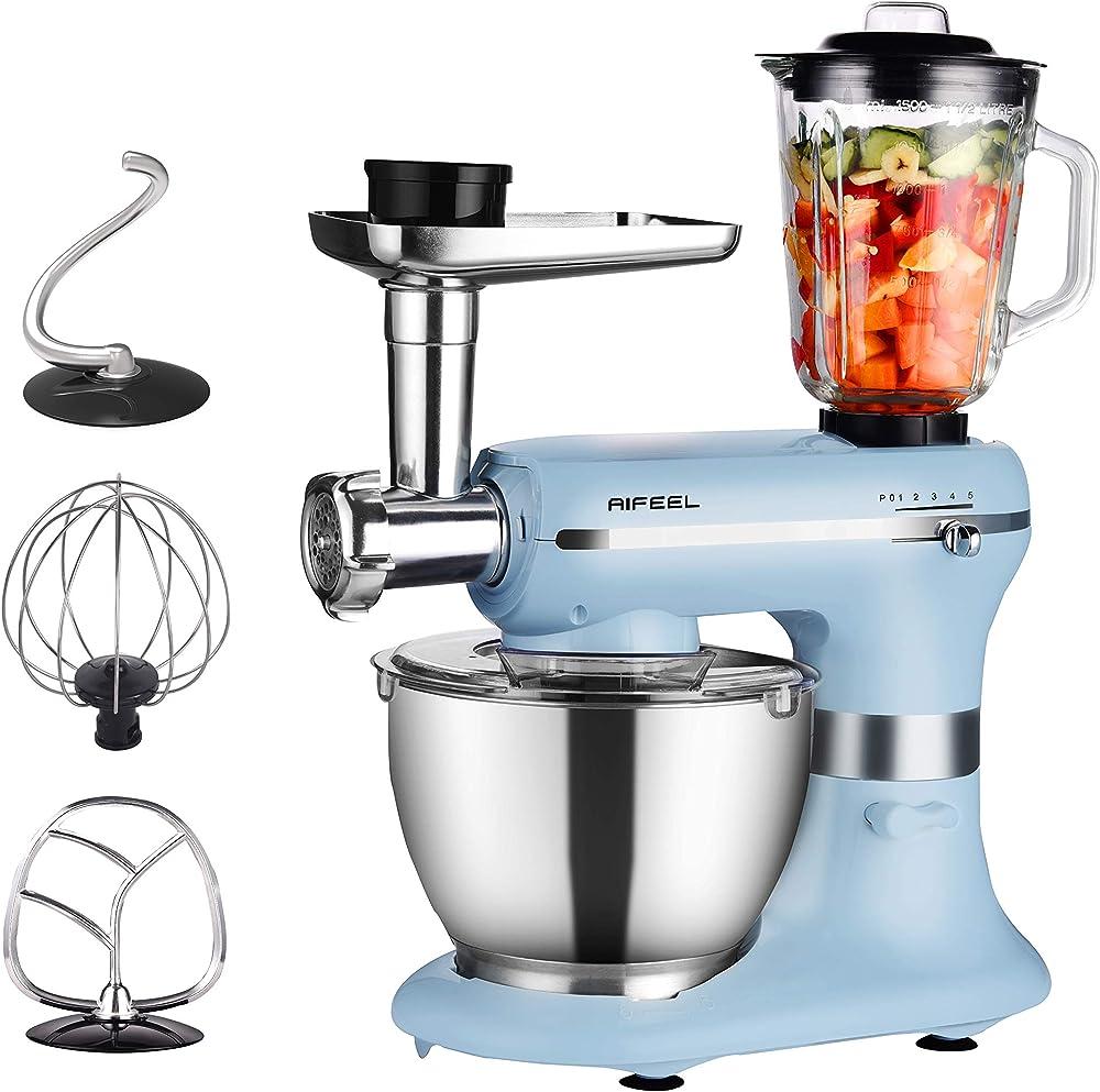 Aifeel, robot da cucina, impastatrice planetaria, accessori per mescolare, tritacarne e frullatore, 5 velocita