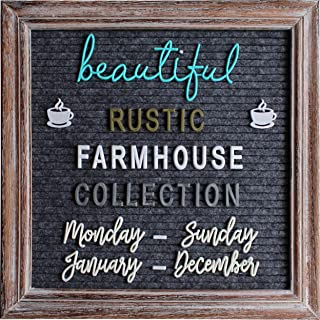 Rustic Felt Letter Board Barnwood Bundle Farmhouse Vintage Wood Frame and Stand by Felt Creative Home Goods 10x10 Inch Changeable Message Board 700+ Letter Set Numbers (10x10 Inches, Brown Gray)