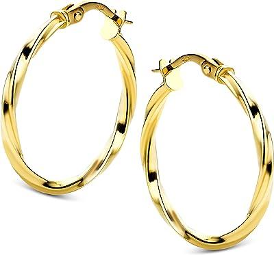 Orovi - Orecchini a cerchio in oro giallo 14 k (585)