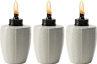 TIKI Brand Herringbone White Glass Tabletop Torch (Set of 3)