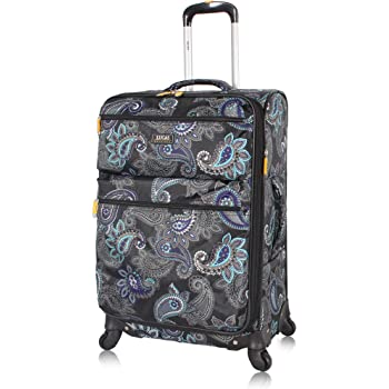 Lucas Designer Luggage - Expandable 28 Inch Softside Bag with Pattern- Durable Large Ultra Lightweight Checked Suitcase with 4-Rolling Spinner Wheels (Diva)