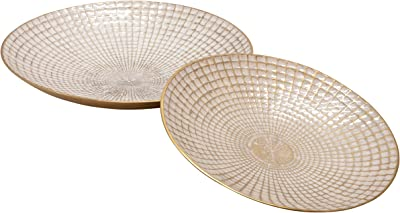 """Sagebrook Home 15241-02 Metal 10/21"""" Round Plates, Ivory/Champagne (Set of 2), 21''L x 21''W x 4''H, Gold, 2 Count"""