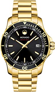 Movado Men's Series 800 Sport Yellow Gold Watch with a Printed Index Dial, Gold/Black (2600145)
