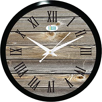 VIREO Rust wood Wall Clock for Home/Living Room/Bedroom/Kitchen and Office 1230 (11.70 Inches)