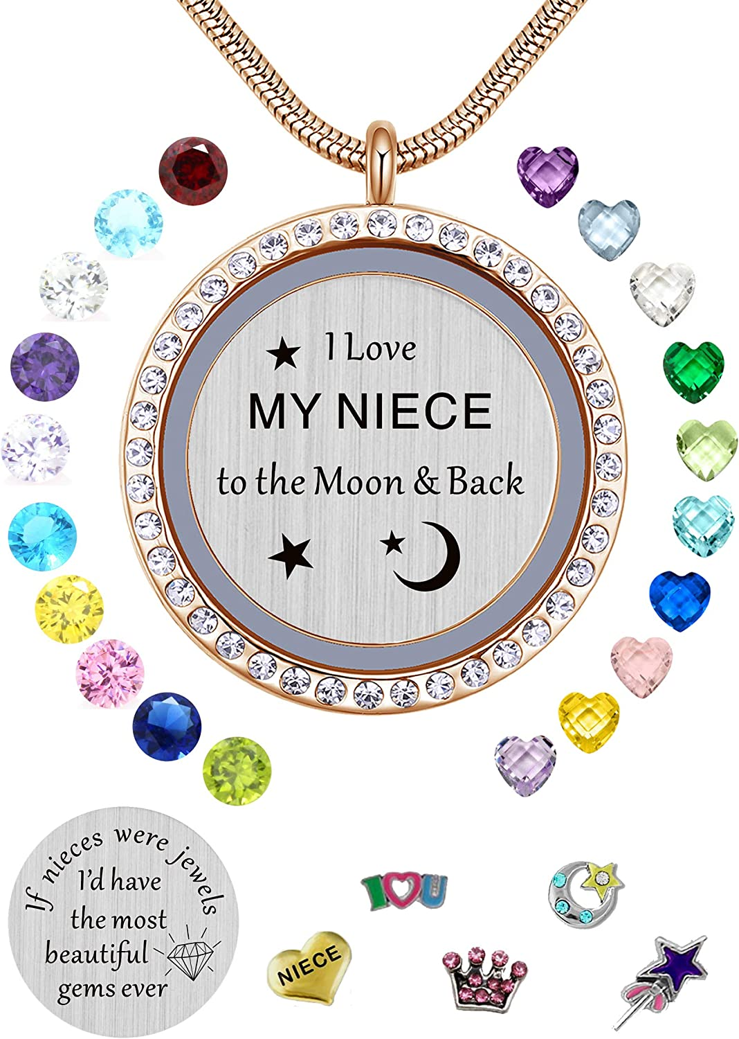 Best Gifts for Niece Aunt, Floating Living Memory Locket Necklace Pendant with Charm & Birthstone for Women, Girls & Teen Girl