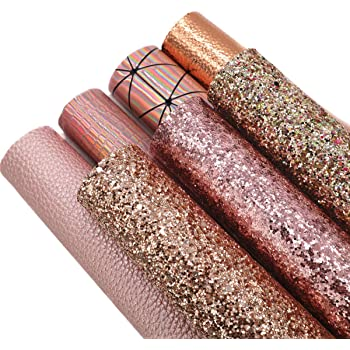 """ZAIONE 7Pcs/Set 8"""" x 12""""(20cm x 30cm) A4 Bundle Leather Sheets Mixed Rose Gold Series Holographic Sparkle Fine Chunky Glitter Faux Leather Fabric Bow Earrings Making DIY Craft(Rose Gold Series)"""