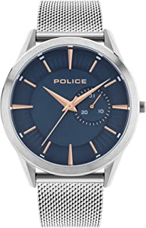 Police Helder Men's Quartz Watch Blue Dial with Silver Stainless Steel Mesh Bracelet 15919JS/03MM…