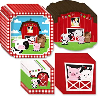 Big Dot of Happiness Farm Animals - Barnyard Baby Shower or Birthday Party Tableware Plates and Napkins - Bundle for 32