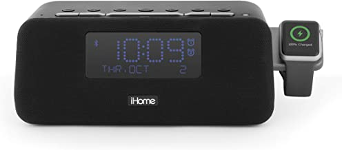 iHome Wireless, Bluetooth Alarm Clock, FM Radio,Compatible with Apple Watch Charger, Dual USB Charging Ports and Speakerphone, Stereo Speaker, Charging Dock, Dual Alarm, Bedside, IWBT5