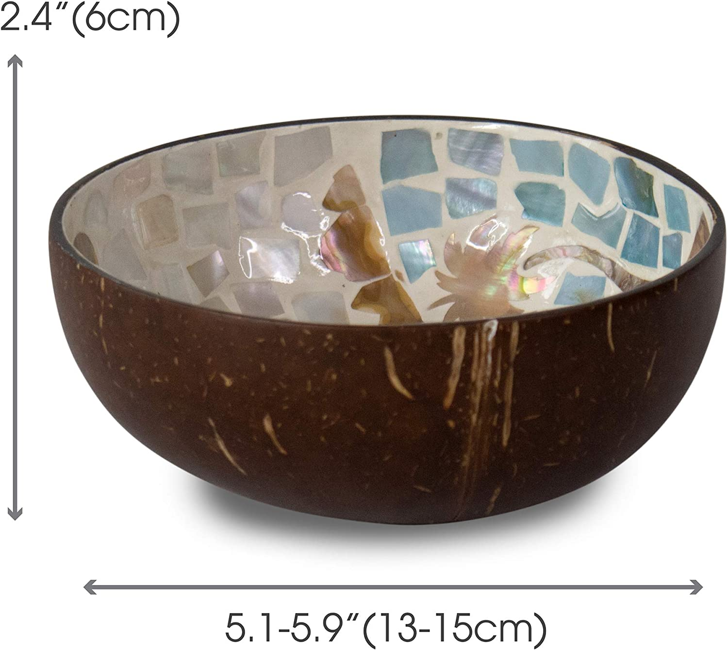 Made Terra Mother of Pearl Inlay Coconut Bowls and Wooden Spoons Set 2 Nacre Dots Dining and Decoration Vegan Organic Salad Cereal Smoothie Buddha Acai Bowl for Kitchen