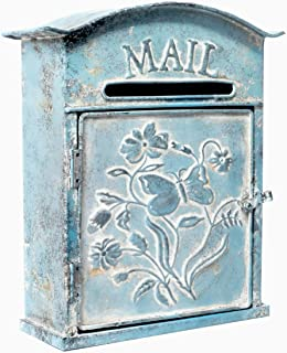 Farmhouse Embossed Tin Wall Mounted Post Mailbox, Rustic Style Decor, Distressed Blue - 12.5 H x 11 W Inches