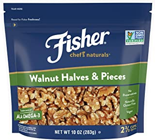 Fisher Nuts Chef's Naturals Walnut & Pieces, Naturally Gluten Free, No Preservatives, Non-GMO, Halves, 10 Ounce