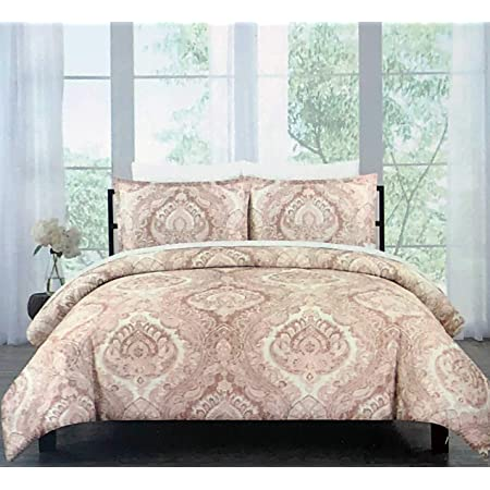Amazon Com Indigo Loft 3pc Duvet Cover Set Paisley Medallion Pattern In Shades Of Pink Coral Sepia On Cream 100 Cotton Comforter Quilt Cover With Shams Aspen Coral Full Queen Home Kitchen