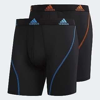 adidas Men's Sport Performance Boxer Briefs Underwear (2 Pack), Black/Bright Blue Black/Orange, SMALL