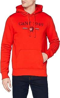 GANT Men's D1. 1949 Crest Sweat Hoodie Hooded Sweatshirt, Lava Red, 667