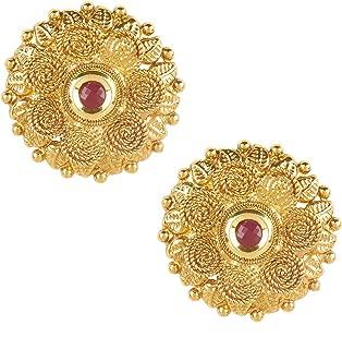 Bodha 22K Bollywood Traditional Indian Kundan Coin Gold Stud Earrings For Women (SJ_1431)