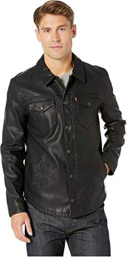 Faux Leather Shirt Jacket