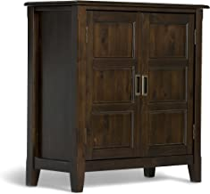 Simpli Home 3AXCBUR-005 Burlington Solid Wood 30 inch Wide Traditional Low Storage Cabinet in Espresso Brown