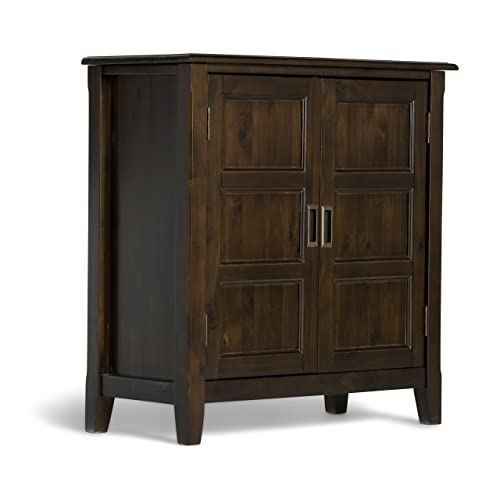Simpli Home 3AXCBUR 005 Burlington Solid Wood 30 Inch Wide Traditional Low  Storage Cabinet In