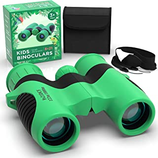 Rubber Kids Binoculars with Optical Lens 8x21 - Childrens Toy Binoculars High Resolution For Spy Camping Gear Educational Toys Adventure Hiking Bird Watching Gift for 3-12 Year Old Boys and Girls