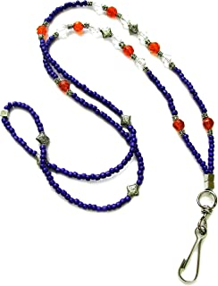 Linpeng Beaded ID Holder Woman Lanyard Necklace, Violet/Orange