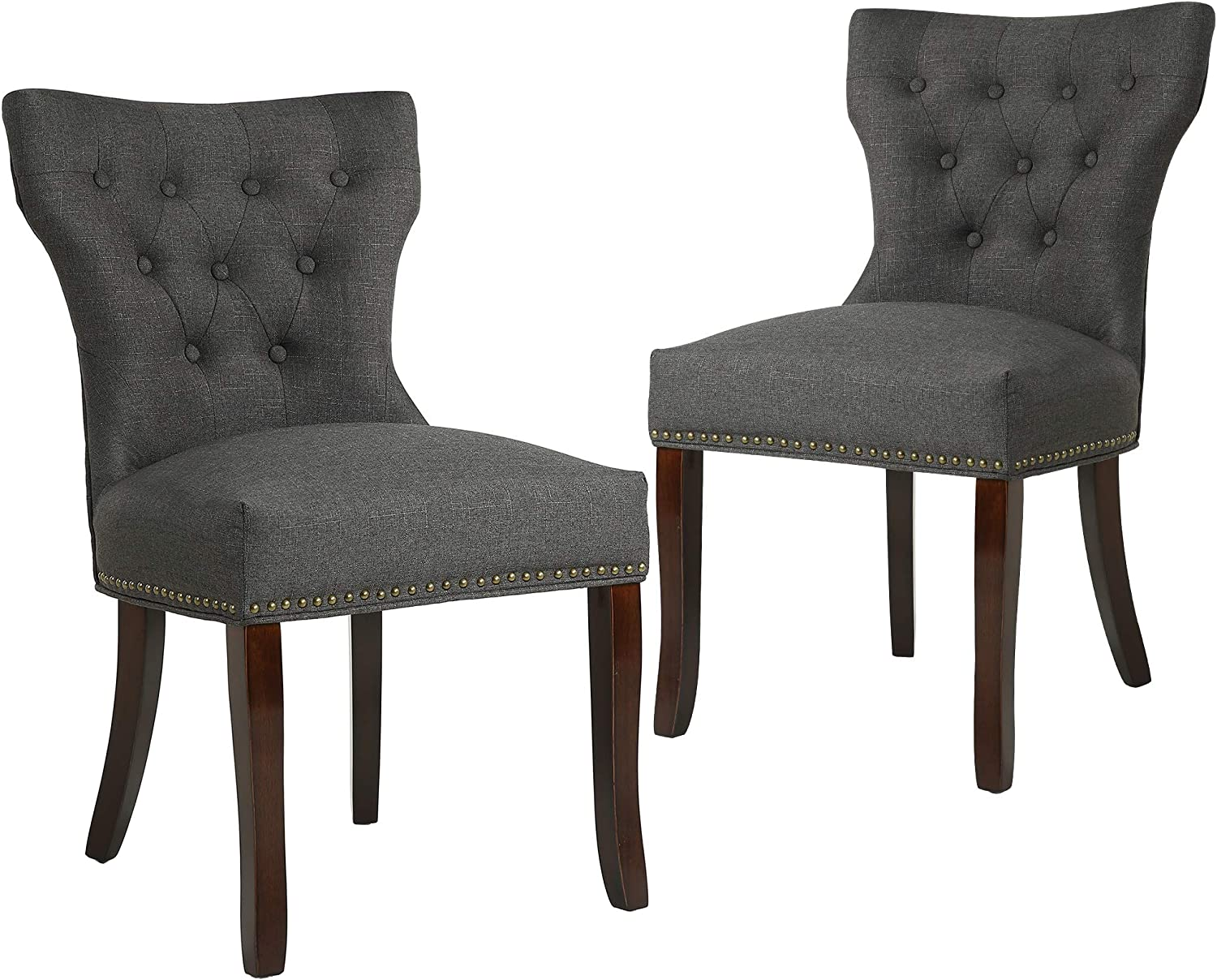 Set of 2 Dining Chairs Accent with Solid 最安値 Soft W 40%OFFの激安セール Fabric
