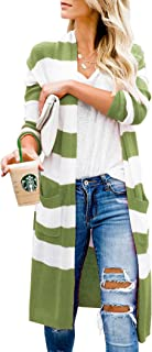 Womens Duster Cardigans Casual Striped Open Front Sweater Outwear with Pockets