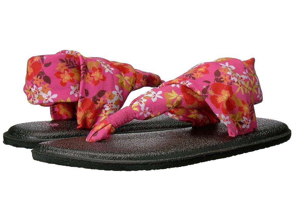 Sanuk Kids Yoga Sling Burst Prints (Little Kid/Big Kid) (Paradise Pink Waikiki Floral) Girls Shoes