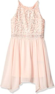 Amy Byer Girls' Big Sequin Lace Bodice Party Dress