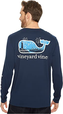 Vineyard Vines - Long Sleeve New Years Scene Pocket Tee