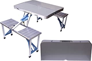 Aluminum Folding Camping Picnic Table With 4 Seats Portable Set Outdoor Garden - FS-3695, Silver