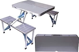 Aluminum Folding Camping Picnic Table With 4 Seats Portable Set Outdoor Garden - FS-3695, Silver